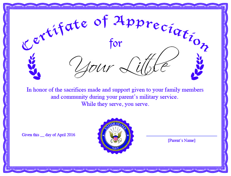 April Is The Month Of The Military Child  Military Certificate Of Appreciation Template